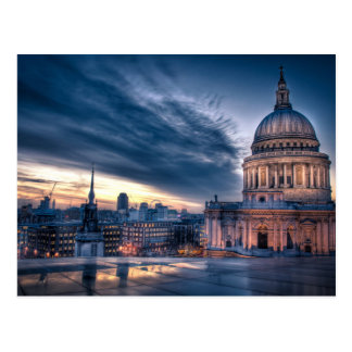 Night falls over St Paul s Cathedral London Postcard