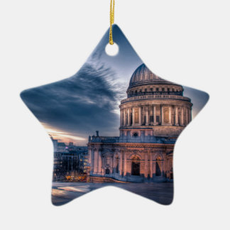 Night falls over St. Paul's Cathedral, London Double-Sided Star Ceramic Christmas Ornament