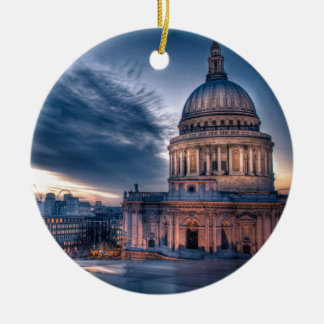 Night falls over St. Paul's Cathedral, London Double-Sided Ceramic Round Christmas Ornament