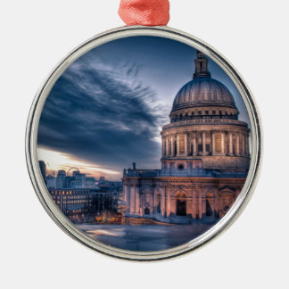 Night falls over St. Paul's Cathedral, London Round Metal Christmas Ornament
