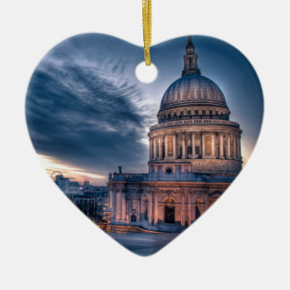 Night falls over St. Paul's Cathedral, London Double-Sided Heart Ceramic Christmas Ornament