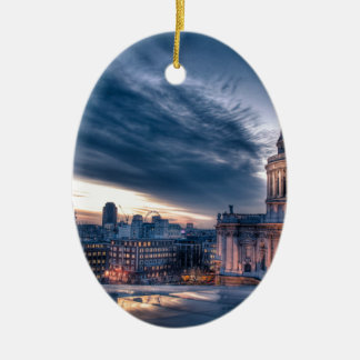 Night falls over St. Paul's Cathedral, London Double-Sided Oval Ceramic Christmas Ornament