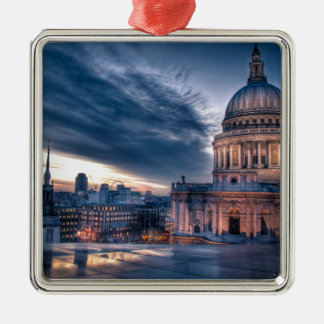 Night falls over St. Paul's Cathedral, London Square Metal Christmas Ornament