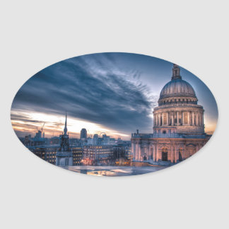Night falls over St. Paul's Cathedral, London Oval Sticker
