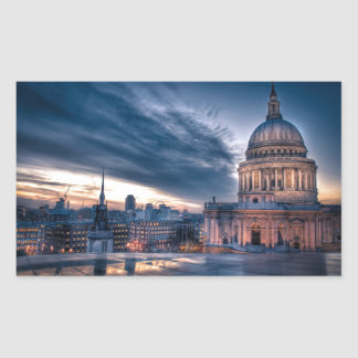 Night falls over St. Paul's Cathedral, London Rectangular Sticker