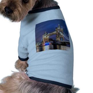 Night falls over Tower Bridge Dog T-shirt