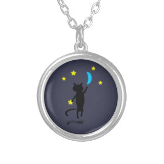 Night Fisher Round Pendant Necklace