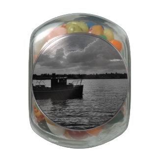 Night Fishing Glass Jar