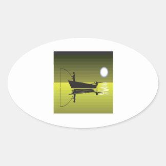 Night Fishing Oval Sticker
