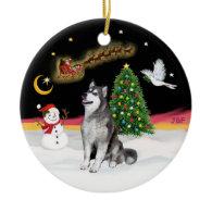 Night Flight - Alaskan Malamute Christmas Ornaments