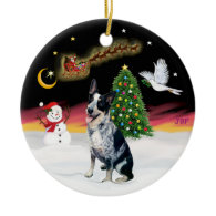 Night Flight - Australian Cattle Dog Ornament