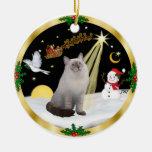 Night Flight - Blue Cream Ragdoll cat Ceramic Ornament