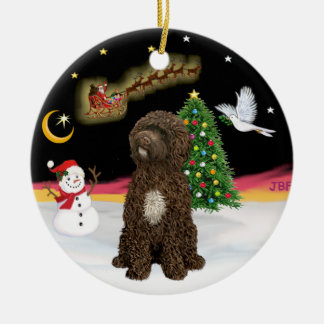 Night Flight -Brown Portuguese Water Dog Double-Sided Ceramic Round Christmas Ornament