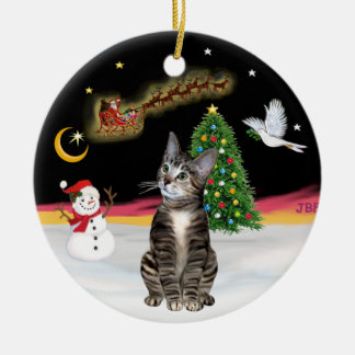Night Flight  - Brown Tabby cat 2 Ceramic Ornament