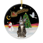 Night Flight  - Brown Tabby cat 2 Double-Sided Ceramic Round Christmas Ornament