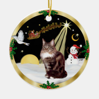 Night Flight (GW) - Maine Coon cat 9 Double-Sided Ceramic Round Christmas Ornament