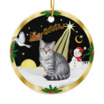Night Flight (GW) - Silver Tabby cat Christmas Ornament