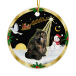 Night Flight (GW) - Tortie Persian cat Double-Sided Ceramic Round Christmas Ornament