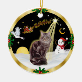 Night Flight - Maine Coon cat (tabby 10) Christmas Tree Ornament