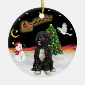 Night Flight  -  Portuguese Water Dog (bw) Double-Sided Ceramic Round Christmas Ornament