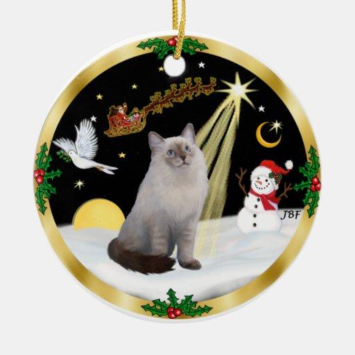 Night Flight -  Ragdoll cat (blue-cream) Ceramic Ornament