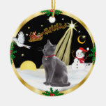 Night Flight - Russian Blue cat Double-Sided Ceramic Round Christmas Ornament