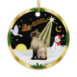 Night Flight - Seal Point Siamese cat Christmas Tree Ornament