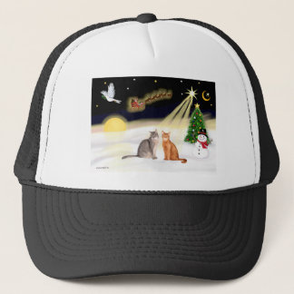 Night Flight - Two Abyssinian cats Trucker Hat