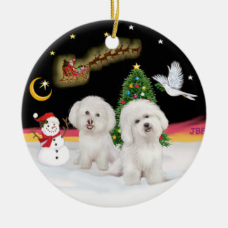 Night Flight - Two Bichon Frise Ceramic Ornament