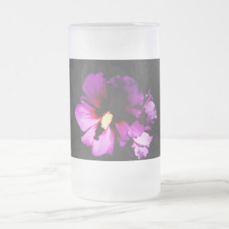 Night Flowers Frosted Glass Beer Mug