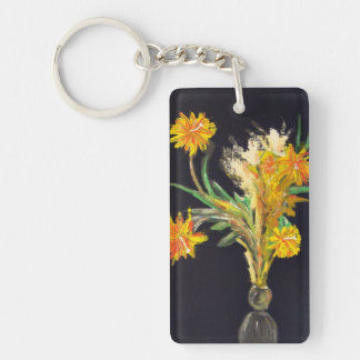 Night Flowers on Black Keychain