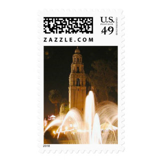 Night Fountains Balboa Park Towers Stamp