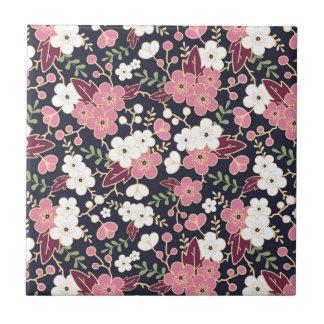 Night Garden Flowers Pattern Ceramic Tile