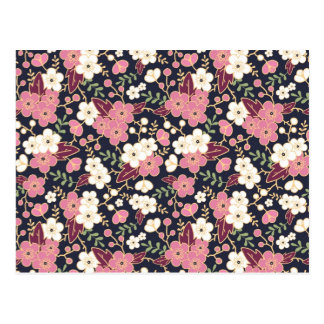 Night Garden Flowers Pattern Postcard