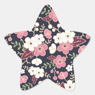 Night Garden Flowers Pattern Star Sticker