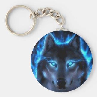 Night Ghost Wolf Basic Round Button Keychain