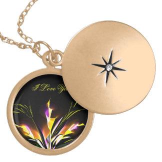 Night glow baihe flower gold finish Locket
