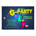 Night Glow Golf Party 5x7 Paper Invitation Card
