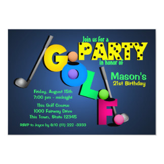 "Night Glow Golf Party 5"" X 7"" Invitation Card"