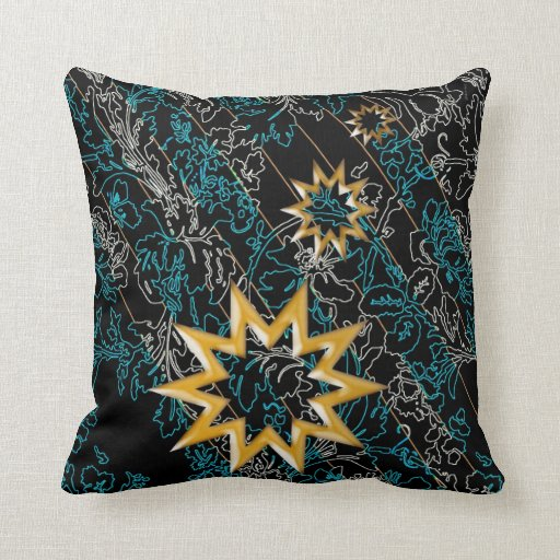 Night Golden Stars Throw Pillows