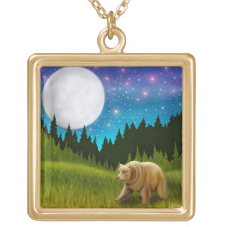 Night Grizzly Bear Necklace