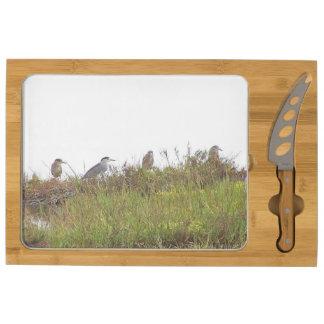Night Heron Birds Wildlife Animals Beach Ocean Cheese Board