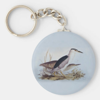 Night Herons by Edward Lear - Bird Paintings Basic Round Button Keychain