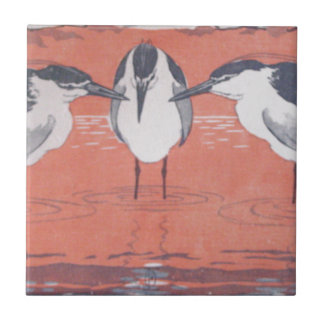 Night Herons by Otto Eckmann Ceramic Tile