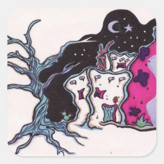Night house square sticker