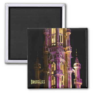 Night illumination of Grand Place in Brussels 2 Inch Square Magnet