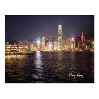 Night in Hong Kong, Victoria Harbour Postcard