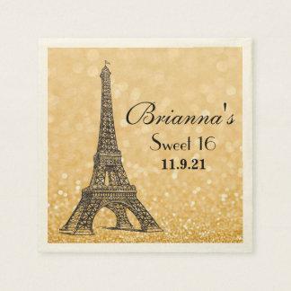Night in Paris Glitter Sweet 16 Custom Napkin