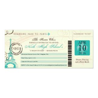 "Night in Paris School Prom 4"" X 9.25"" Invitation Card"