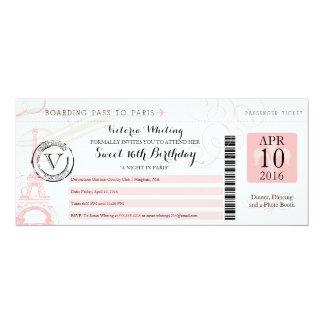 Night in Paris | Sweet 16 Birthday 4x9.25 Paper Invitation Card
